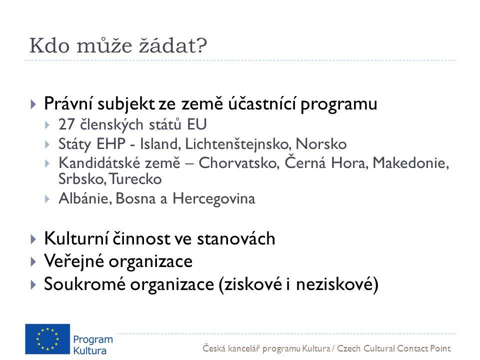 Česká kancelář programu Kultura / Czech Cultural Contact Point Kdo může žádat.