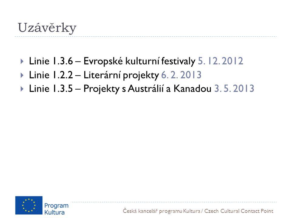 Česká kancelář programu Kultura / Czech Cultural Contact Point Uzávěrky  Linie 1.3.6 – Evropské kulturní festivaly 5.