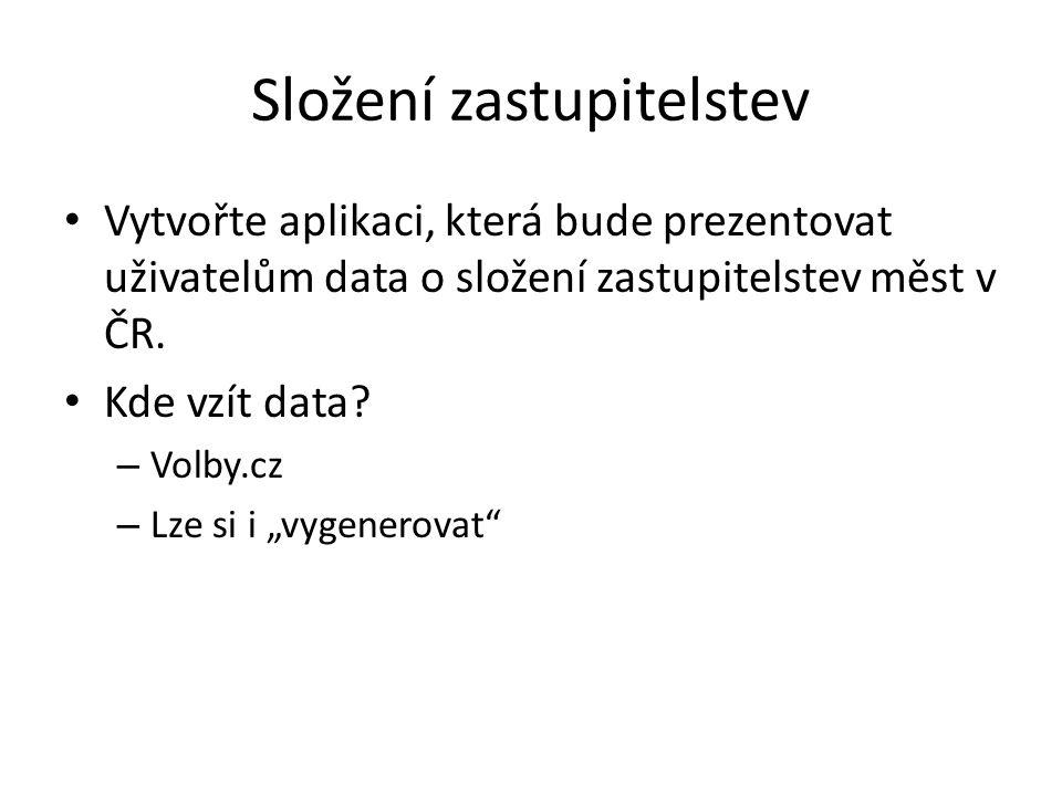 Složení zastupitelstev Vytvořte aplikaci, která bude prezentovat uživatelům data o složení zastupitelstev měst v ČR.