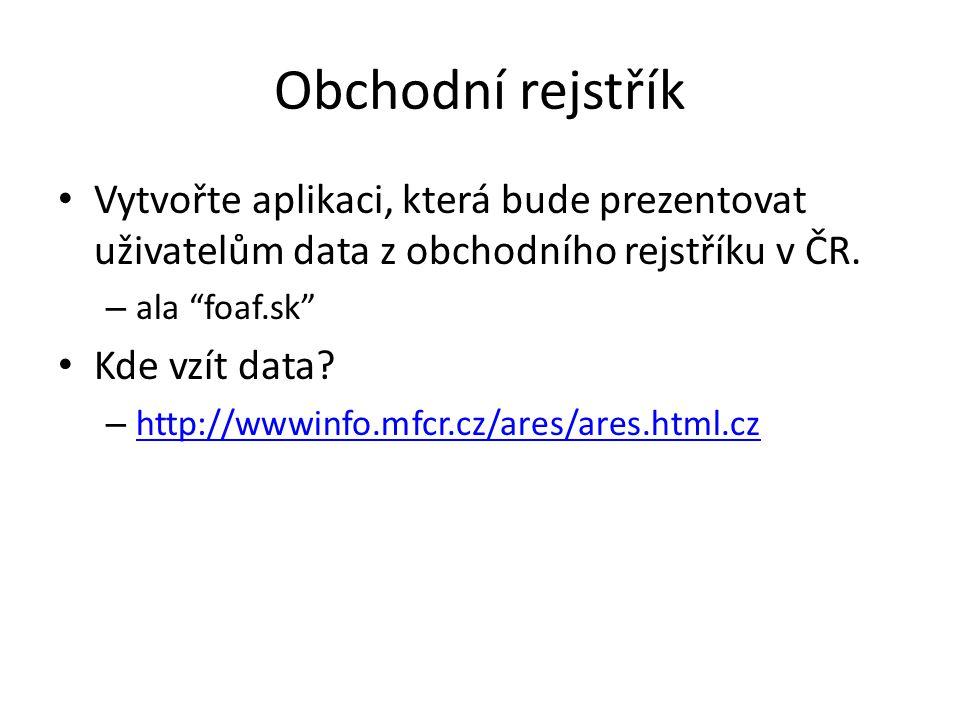 Obchodní rejstřík Vytvořte aplikaci, která bude prezentovat uživatelům data z obchodního rejstříku v ČR.