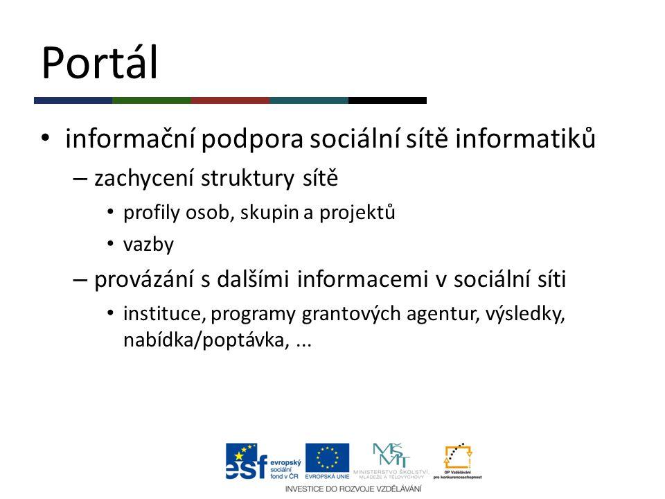 Portál informační podpora sociální sítě informatiků – zachycení struktury sítě profily osob, skupin a projektů vazby – provázání s dalšími informacemi