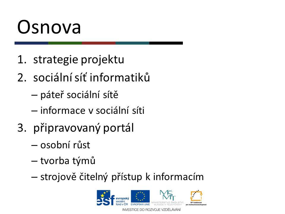 Osnova 1.strategie projektu 2.sociální síť informatiků – páteř sociální sítě – informace v sociální síti 3.připravovaný portál – osobní růst – tvorba