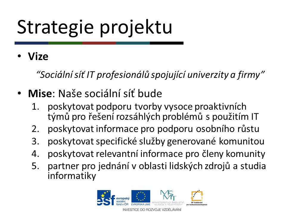 """Strategie projektu Vize """"Sociální síť IT profesionálů spojující univerzity a firmy"""" Mise: Naše sociální síť bude 1.poskytovat podporu tvorby vysoce pr"""