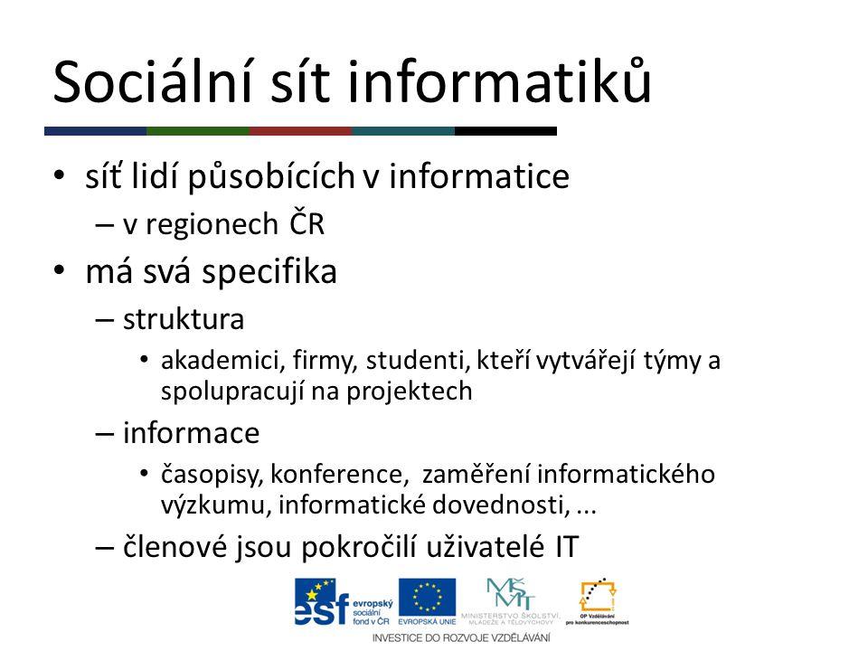Sociální sít informatiků síť lidí působících v informatice – v regionech ČR má svá specifika – struktura akademici, firmy, studenti, kteří vytvářejí t