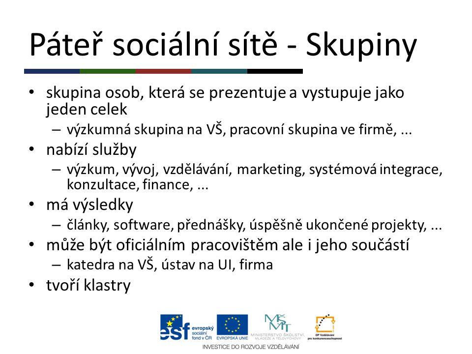 Páteř sociální sítě - Skupiny skupina osob, která se prezentuje a vystupuje jako jeden celek – výzkumná skupina na VŠ, pracovní skupina ve firmě,... n