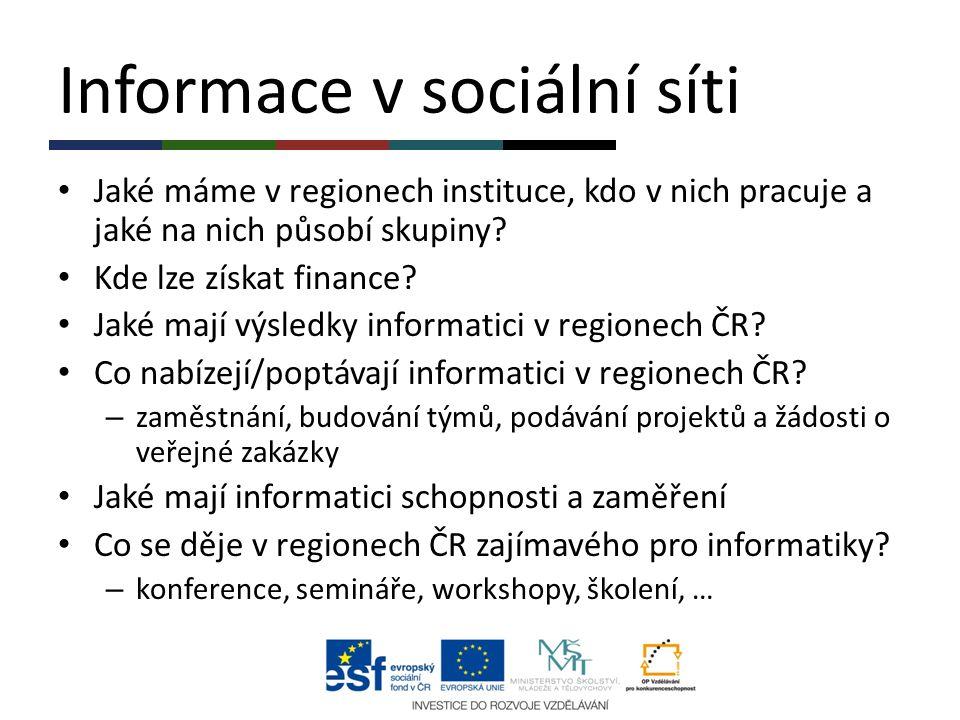 Informace v sociální síti Jaké máme v regionech instituce, kdo v nich pracuje a jaké na nich působí skupiny? Kde lze získat finance? Jaké mají výsledk