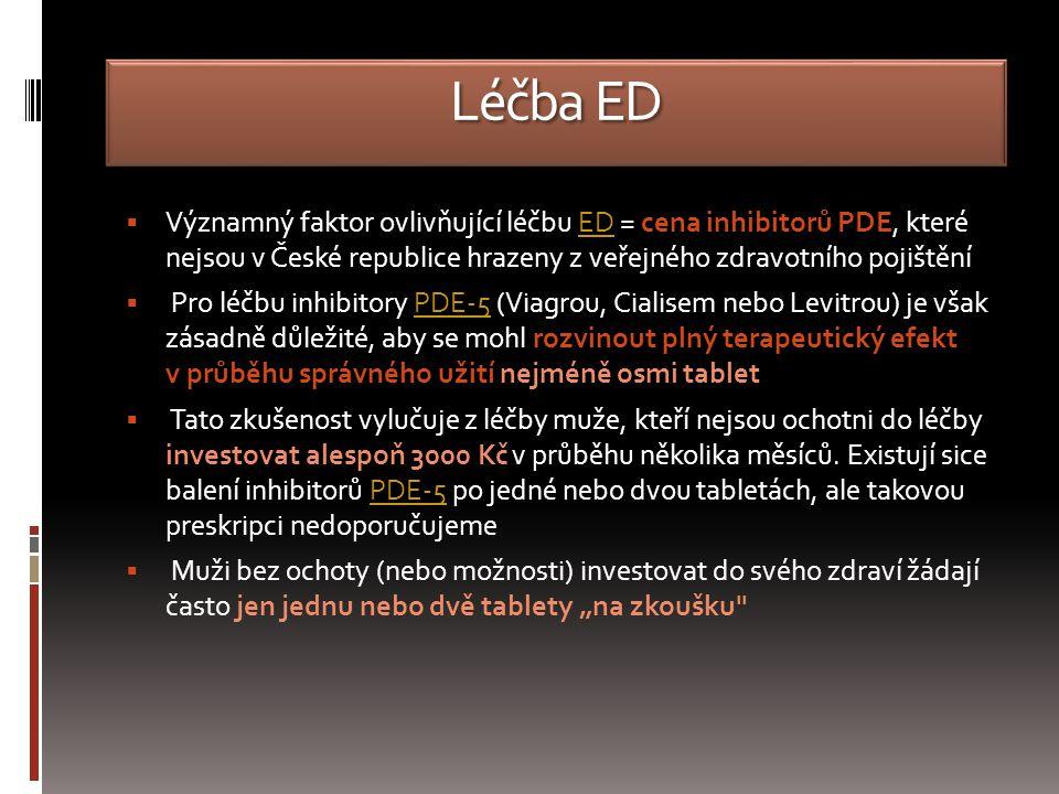 Léčba ED  Významný faktor ovlivňující léčbu ED = cena inhibitorů PDE, které nejsou v České republice hrazeny z veřejného zdravotního pojištěníED  Pro léčbu inhibitory PDE-5 (Viagrou, Cialisem nebo Levitrou) je však zásadně důležité, aby se mohl rozvinout plný terapeutický efekt v průběhu správného užití nejméně osmi tabletPDE-5  Tato zkušenost vylučuje z léčby muže, kteří nejsou ochotni do léčby investovat alespoň 3000 Kč v průběhu několika měsíců.