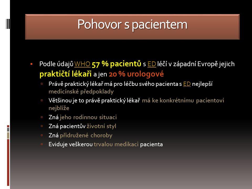 Pohovor s pacientem  Podle údajů WHO 57 % pacientů s ED léčí v západní Evropě jejich praktičtí lékaři a jen 20 % urologovéWHOED  Právě praktický lékař má pro léčbu svého pacienta s ED nejlepší medicínské předpokladyED  Většinou je to právě praktický lékař má ke konkrétnímu pacientovi nejblíže  Zná jeho rodinnou situaci  Zná pacientův životní styl  Zná přidružené choroby  Eviduje veškerou trvalou medikaci pacienta