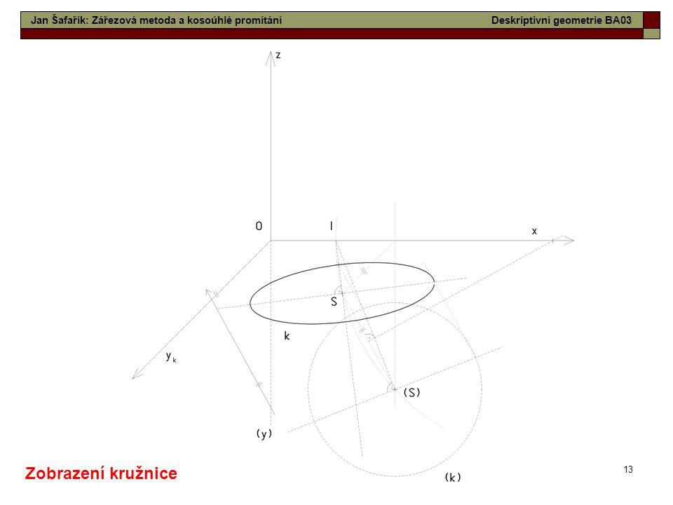 13 Jan Šafařík: Zářezová metoda a kosoúhlé promítáníDeskriptivní geometrie BA03 Zobrazení kružnice
