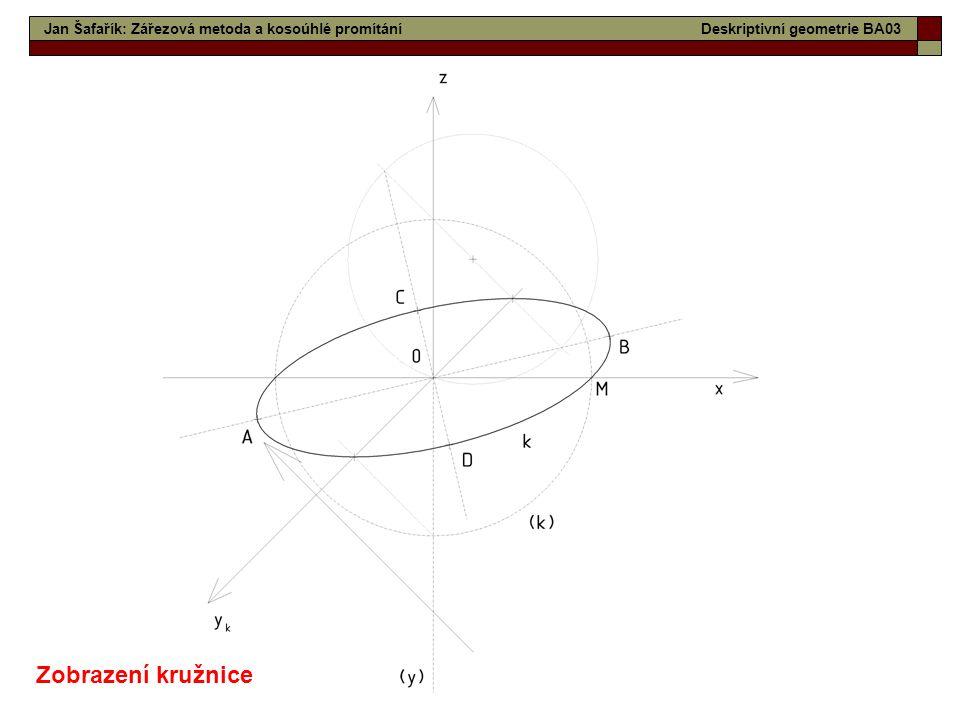 14 Jan Šafařík: Zářezová metoda a kosoúhlé promítáníDeskriptivní geometrie BA03 Zobrazení kružnice