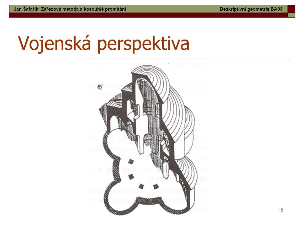 19 Vojenská perspektiva Jan Šafařík: Zářezová metoda a kosoúhlé promítáníDeskriptivní geometrie BA03