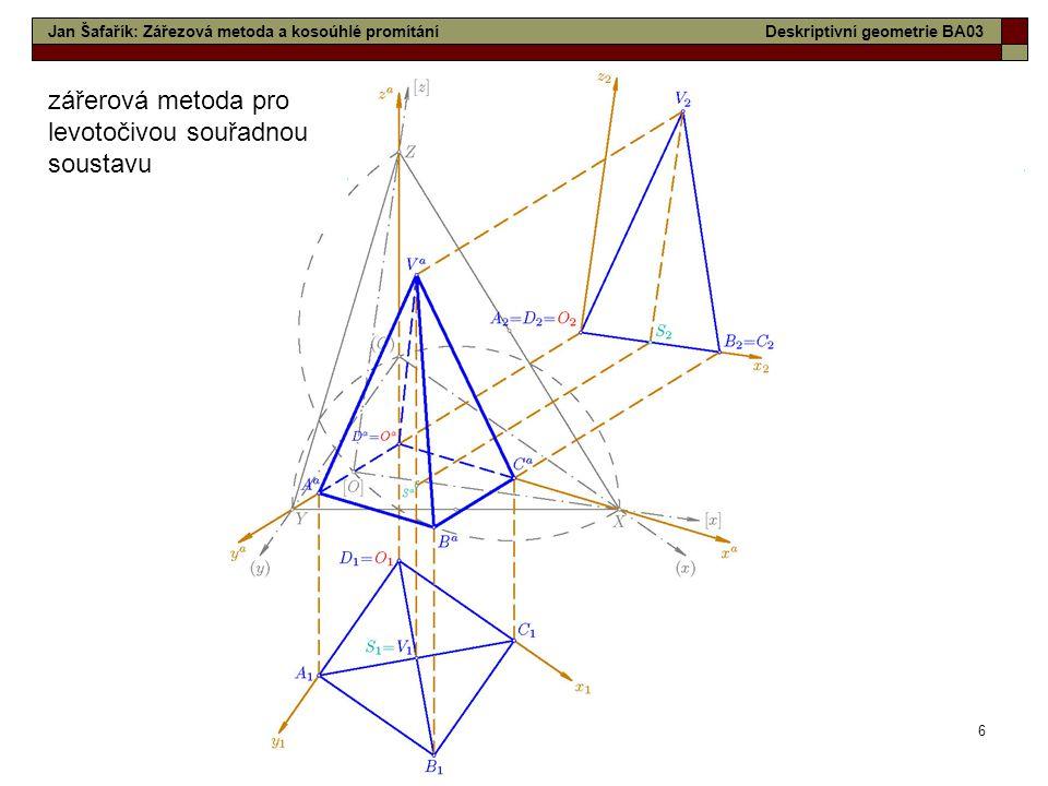 6 zářerová metoda pro levotočivou souřadnou soustavu Jan Šafařík: Zářezová metoda a kosoúhlé promítáníDeskriptivní geometrie BA03