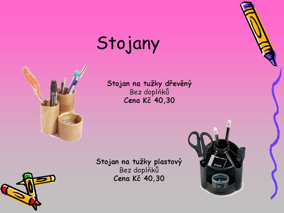 Stojany Stojan na tužky dřevěný Bez doplňků Cena Kč 40,30 Stojan na tužky plastový Bez doplňků Cena Kč 40,30