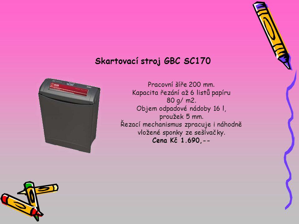 Skartovací stroj GBC SC170 Pracovní šíře 200 mm. Kapacita řezání až 6 listů papíru 80 g/ m2. Objem odpadové nádoby 16 l, proužek 5 mm. Řezací mechanis