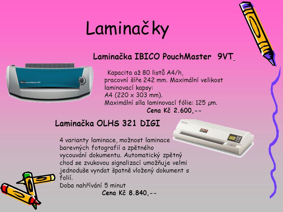 Laminačky pracovní šíře 242 mm. Maximální velikost laminovací kapsy: A4 (220 x 303 mm). Maximální síla laminovací fólie: 125 µm. Cena Kč 2.600,-- Kapa