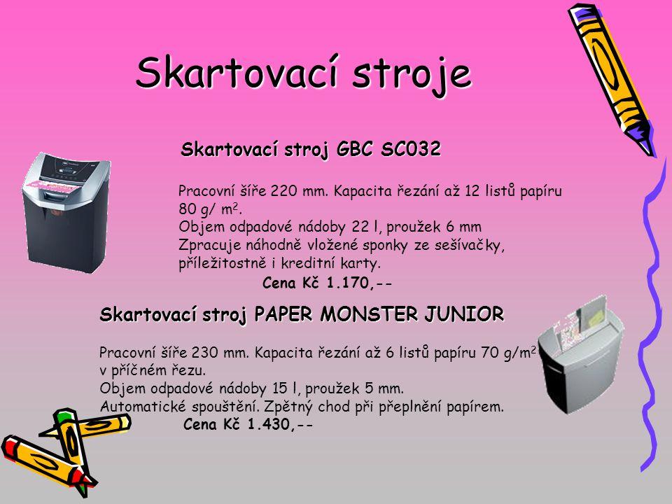 Skartovací stroje Skartovací stroj GBC SC032 Pracovní šíře 220 mm. Kapacita řezání až 12 listů papíru 80 g/ m 2. Objem odpadové nádoby 22 l, proužek 6