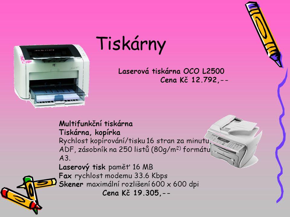Tiskárny Laserová tiskárna OCO L2500 Cena Kč 12.792,-- Multifunkční tiskárna Tiskárna, kopírka Rychlost kopírování/tisku 16 stran za minutu, ADF, zásobník na 250 listů (80g/m 2) formátu A3.