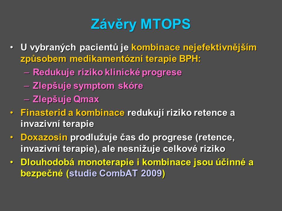 Závěry MTOPS U vybraných pacientů je kombinace nejefektivnějším způsobem medikamentózní terapie BPH:U vybraných pacientů je kombinace nejefektivnějším