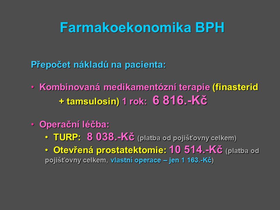 Farmakoekonomika BPH Přepočet nákladů na pacienta: Kombinovaná medikamentózní terapie (finasterid + tamsulosin) 1 rok: 6 816.-Kč Kombinovaná medikamen