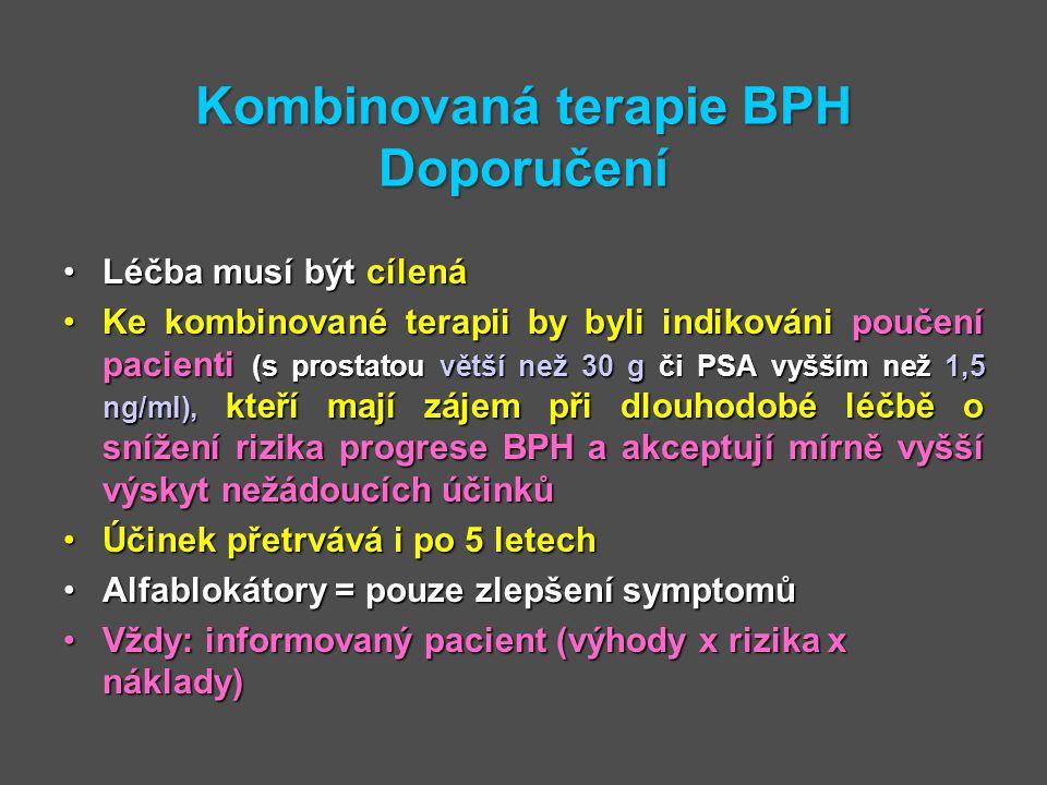 Kombinovaná terapie BPH Doporučení Léčba musí být cílenáLéčba musí být cílená Ke kombinované terapii by byli indikováni poučení pacienti (s prostatou