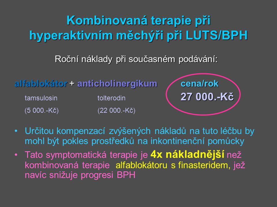Kombinovaná terapie při hyperaktivním měchýři při LUTS/BPH Roční náklady při současném podávání: alfablokátor + anticholinergikumcena/rok 27 000.-Kč t