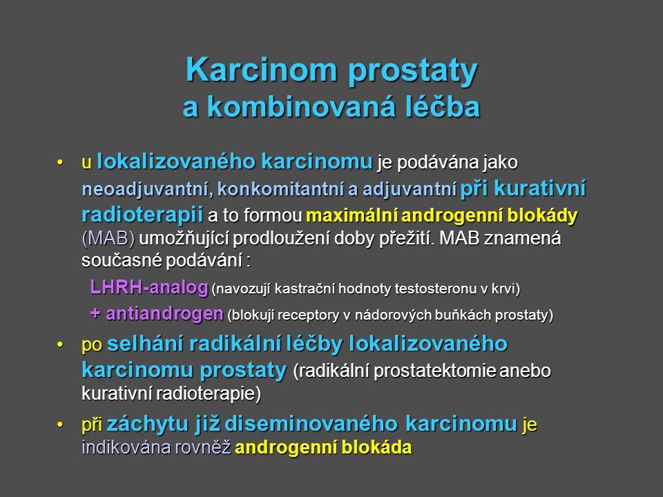 Karcinom prostaty a kombinovaná léčba u lokalizovaného karcinomu je podávána jako neoadjuvantní, konkomitantní a adjuvantní při kurativní radioterapii
