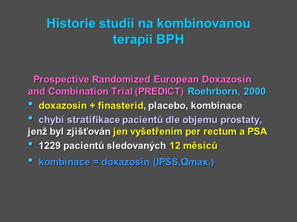 Historie studií na kombinovanou terapii BPH Prospective Randomized European Doxazosin and Combination Trial (PREDICT) Roehrborn, 2000 doxazosin + fina