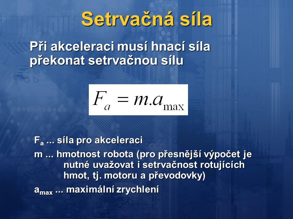 Setrvačná síla Při akceleraci musí hnací síla překonat setrvačnou sílu F a... síla pro akceleraci m... hmotnost robota (pro přesnější výpočet je nutné