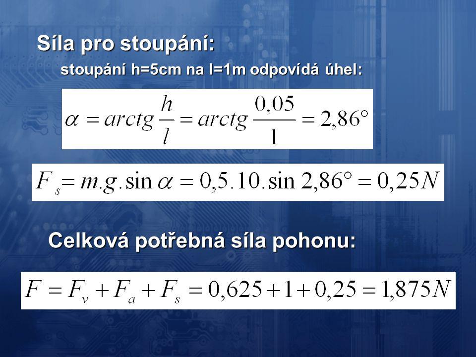 Síla pro stoupání: stoupání h=5cm na l=1m odpovídá úhel: Celková potřebná síla pohonu: