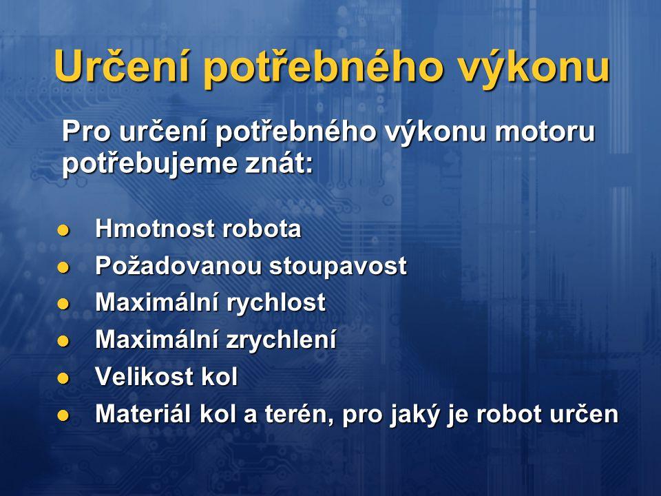 Určení potřebného výkonu Hmotnost robota Hmotnost robota Požadovanou stoupavost Požadovanou stoupavost Maximální rychlost Maximální rychlost Maximální