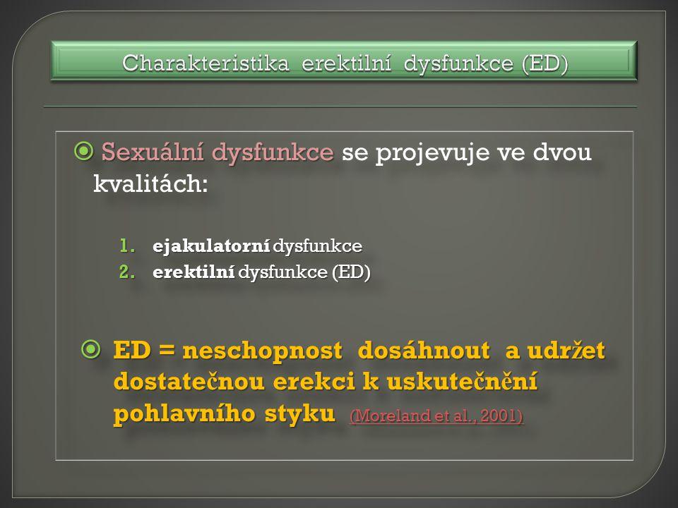  Sexuální dysfunkce  Sexuální dysfunkce se projevuje ve dvou kvalitách: 1.ejakulatorní dysfunkce 2.erektilní dysfunkce (ED)  ED = neschopnost dosáhnout a udr ž et dostate č nou erekci k uskute č n ě ní pohlavního styku (Moreland et al., 2001) (Moreland et al., 2001) (Moreland et al., 2001)  Sexuální dysfunkce  Sexuální dysfunkce se projevuje ve dvou kvalitách: 1.ejakulatorní dysfunkce 2.erektilní dysfunkce (ED)  ED = neschopnost dosáhnout a udr ž et dostate č nou erekci k uskute č n ě ní pohlavního styku (Moreland et al., 2001) (Moreland et al., 2001) (Moreland et al., 2001)