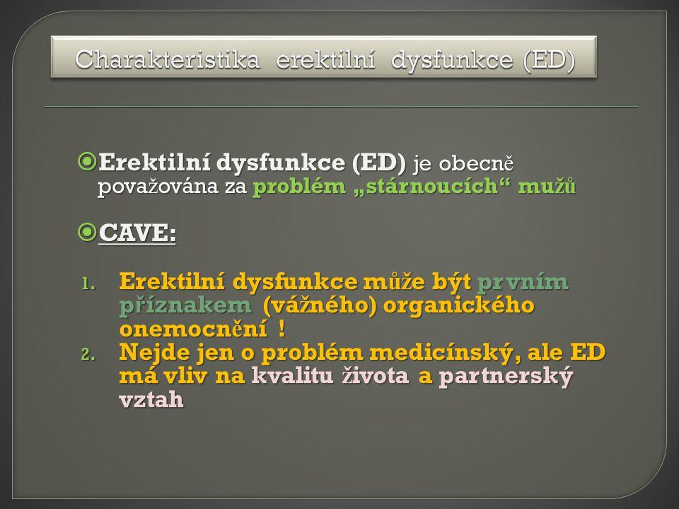 """ Erektilní dysfunkce (ED) je obecn ě pova ž ována za problém """"stárnoucích mu žů  CAVE: 1."""