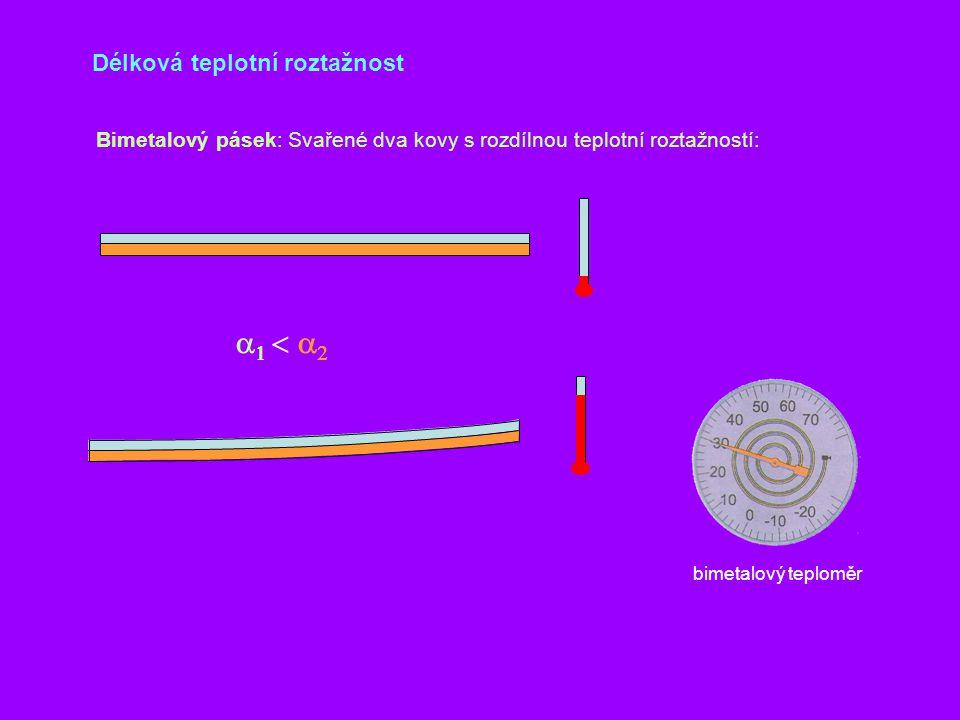 Délková teplotní roztažnost Bimetalový pásek: Svařené dva kovy s rozdílnou teplotní roztažností:  bimetalový teploměr