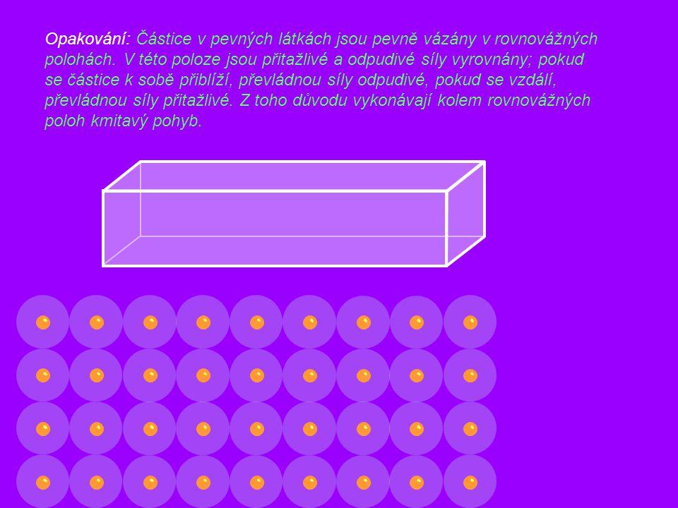 Opakování: Částice v pevných látkách jsou pevně vázány v rovnovážných polohách. V této poloze jsou přitažlivé a odpudivé síly vyrovnány; pokud se část
