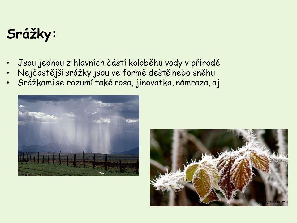 Srážky: Jsou jednou z hlavních částí koloběhu vody v přírodě Nejčastější srážky jsou ve formě deště nebo sněhu Srážkami se rozumí také rosa, jinovatka