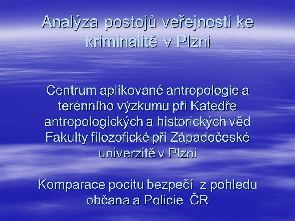 Analýza postojů veřejnosti ke kriminalitě v Plzni Centrum aplikované antropologie a terénního výzkumu při Katedře antropologických a historických věd