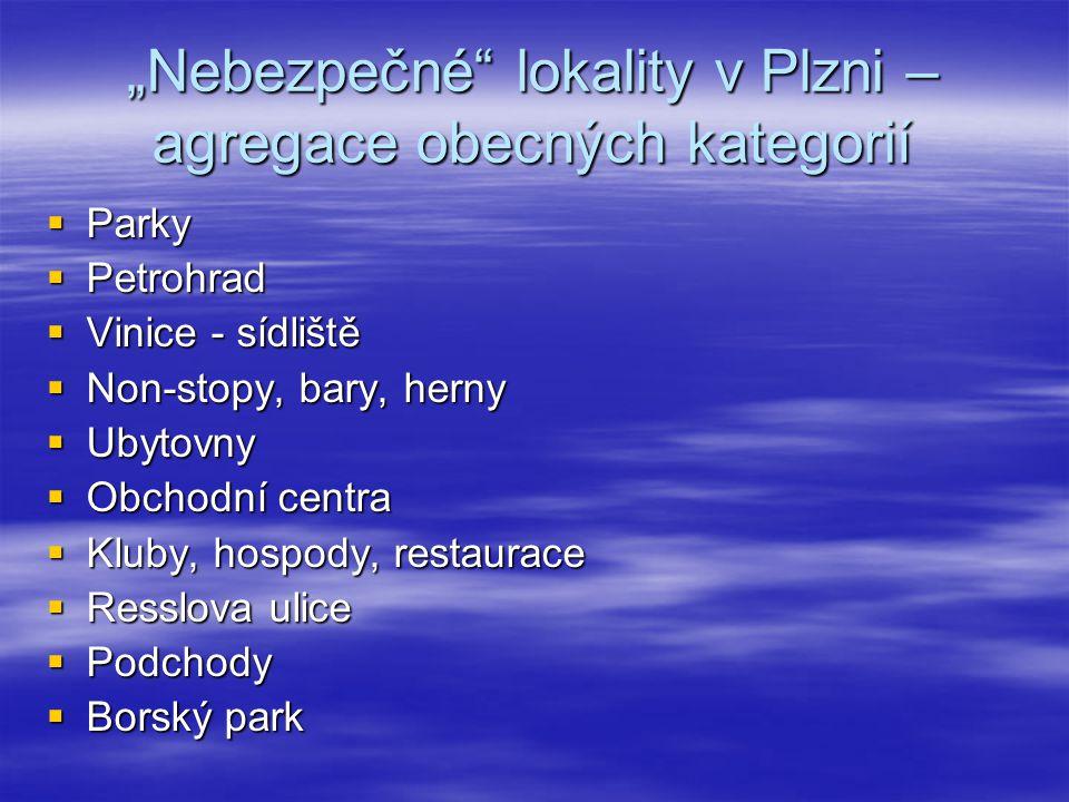 """""""Nebezpečné"""" lokality v Plzni – agregace obecných kategorií  Parky  Petrohrad  Vinice - sídliště  Non-stopy, bary, herny  Ubytovny  Obchodní cen"""