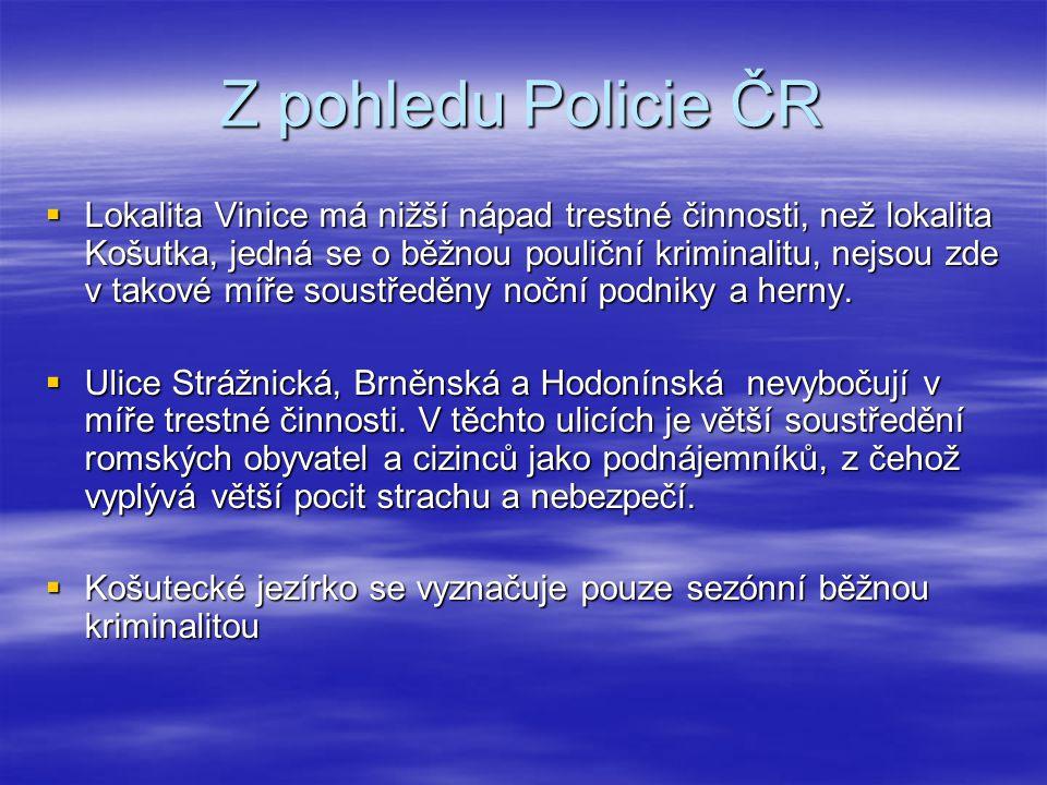Z pohledu Policie ČR  Lokalita Vinice má nižší nápad trestné činnosti, než lokalita Košutka, jedná se o běžnou pouliční kriminalitu, nejsou zde v tak