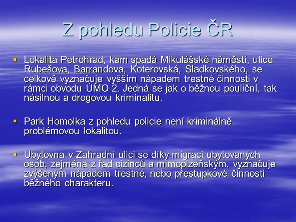 Z pohledu Policie ČR  Lokalita Petrohrad, kam spadá Mikulášské náměstí, ulice Rubešova, Barrandova, Koterovská, Sladkovského, se celkově vyznačuje vy