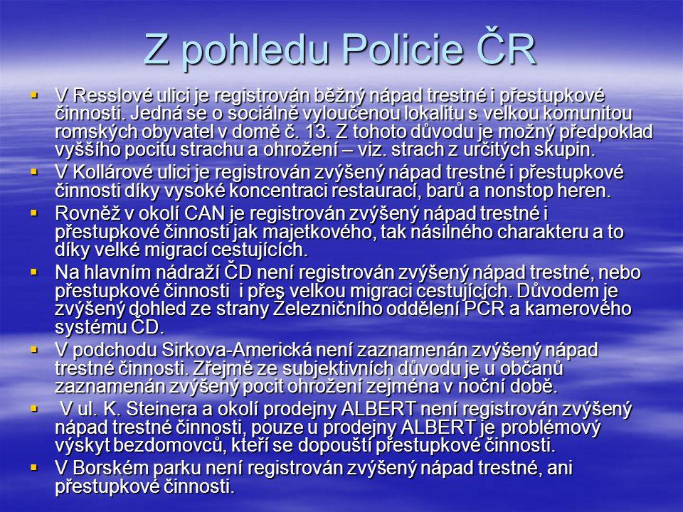 Z pohledu Policie ČR  V Resslové ulici je registrován běžný nápad trestné i přestupkové činnosti. Jedná se o sociálně vyloučenou lokalitu s velkou ko
