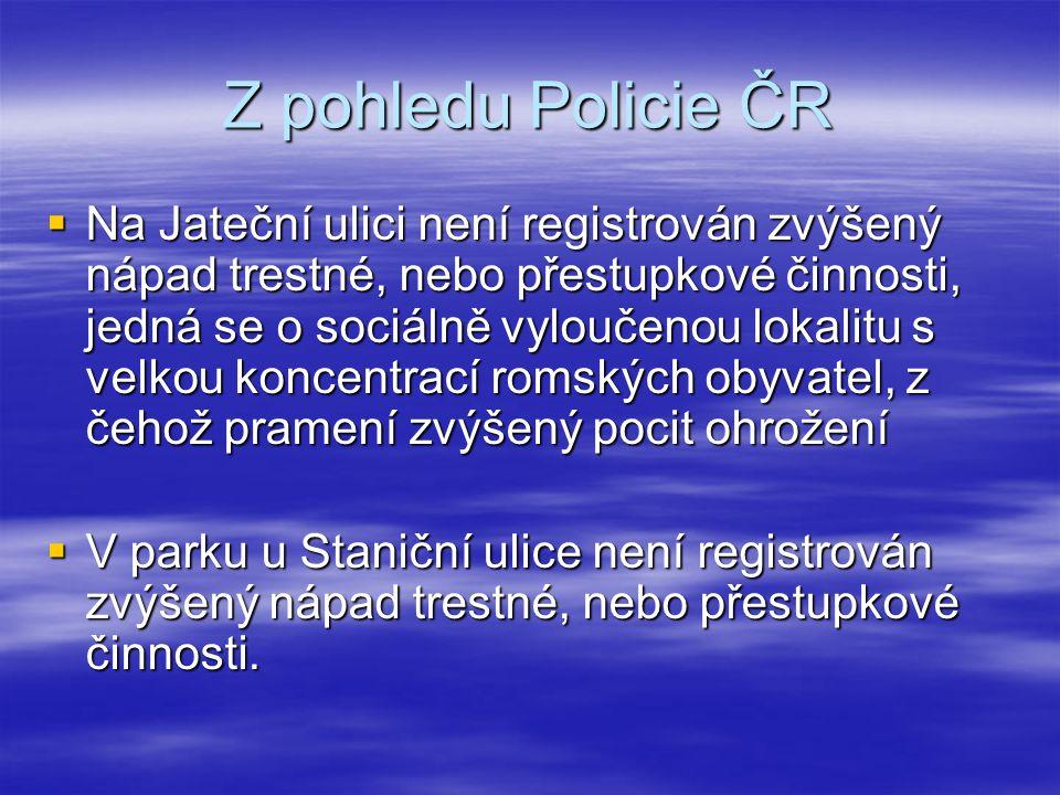 Z pohledu Policie ČR  Na Jateční ulici není registrován zvýšený nápad trestné, nebo přestupkové činnosti, jedná se o sociálně vyloučenou lokalitu s v
