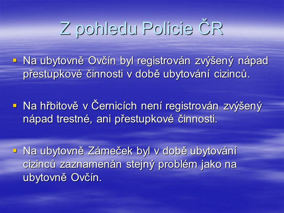 Z pohledu Policie ČR  Na ubytovně Ovčín byl registrován zvýšený nápad přestupkové činnosti v době ubytování cizinců.  Na hřbitově v Černicích není r