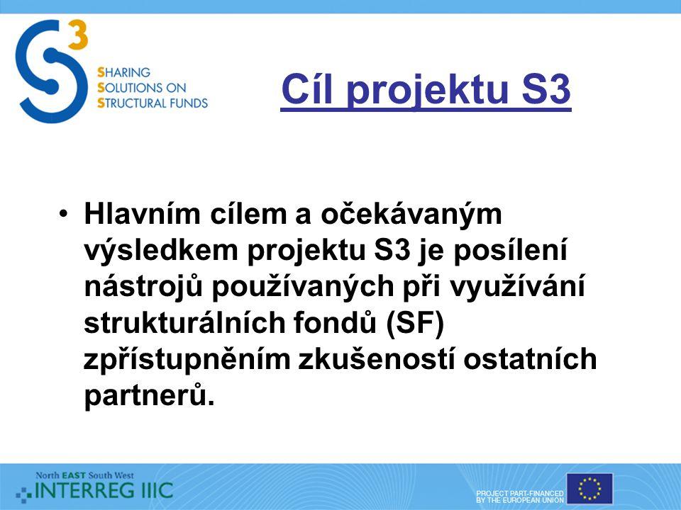 Cíl projektu S3 Hlavním cílem a očekávaným výsledkem projektu S3 je posílení nástrojů používaných při využívání strukturálních fondů (SF) zpřístupněním zkušeností ostatních partnerů.