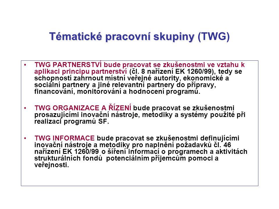 Tématické pracovní skupiny Tématické pracovní skupiny (TWG) TWG PARTNERSTVÍ bude pracovat se zkušenostmi ve vztahu k aplikaci principu partnerství (čl.