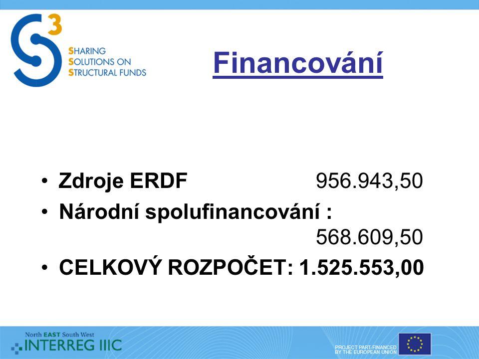Financování Zdroje ERDF 956.943,50 Národní spolufinancování : 568.609,50 CELKOVÝ ROZPOČET: 1.525.553,00