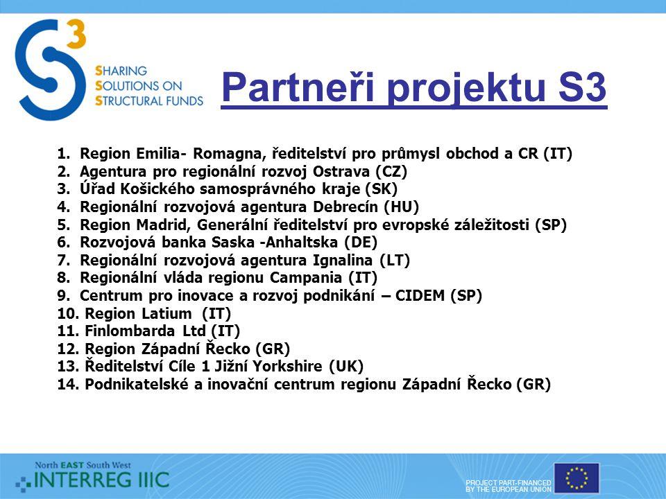 Partneři projektu S3 1. Region Emilia- Romagna, ředitelství pro průmysl obchod a CR (IT) 2.