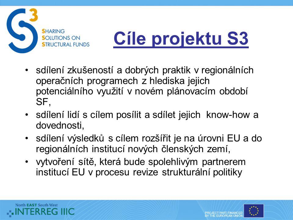 Cíle projektu S3 sdílení zkušeností a dobrých praktik v regionálních operačních programech z hlediska jejich potenciálního využití v novém plánovacím období SF, sdílení lidí s cílem posílit a sdílet jejich know-how a dovednosti, sdílení výsledků s cílem rozšířit je na úrovni EU a do regionálních institucí nových členských zemí, vytvoření sítě, která bude spolehlivým partnerem institucí EU v procesu revize strukturální politiky