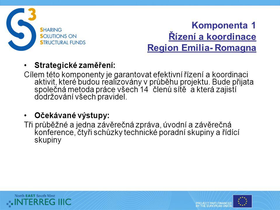 Komponenta 1 Řízení a koordinace Region Emilia- Romagna Strategické zaměření: Cílem této komponenty je garantovat efektivní řízení a koordinaci aktivit, které budou realizovány v průběhu projektu.