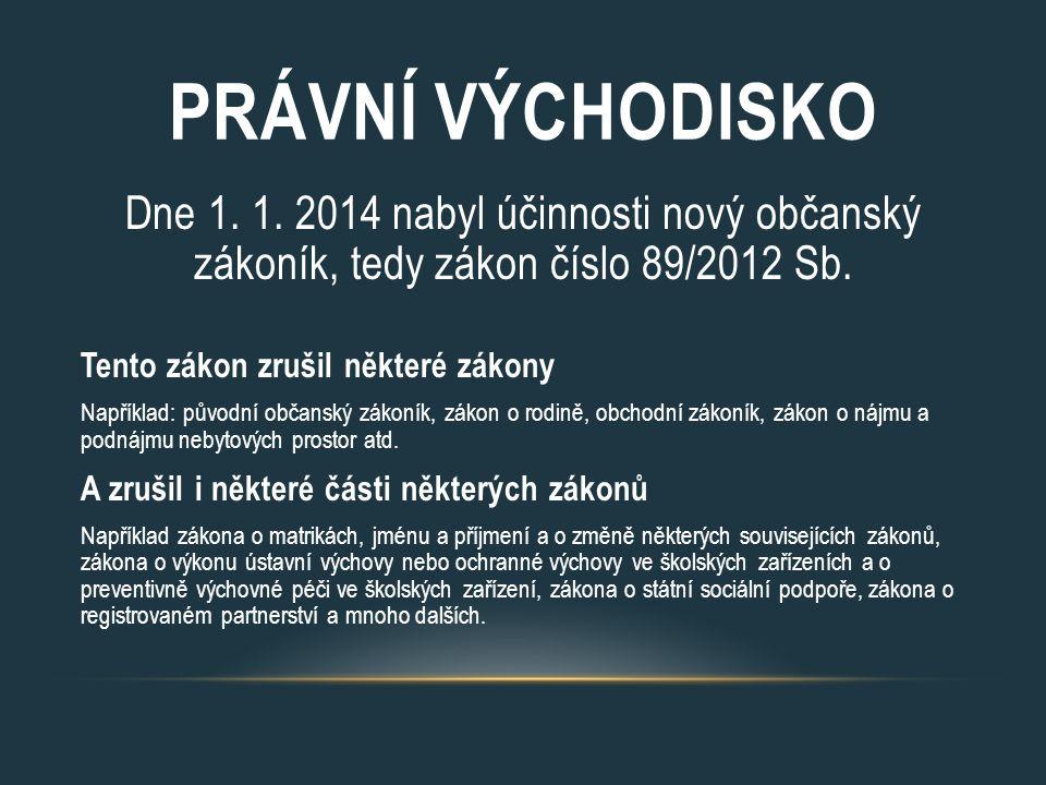 PRÁVNÍ VÝCHODISKO Dne 1. 1. 2014 nabyl účinnosti nový občanský zákoník, tedy zákon číslo 89/2012 Sb. Tento zákon zrušil některé zákony Například: půvo