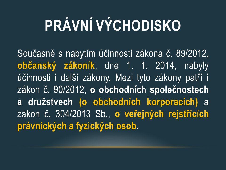 PRÁVNÍ VÝCHODISKO Současně s nabytím účinnosti zákona č. 89/2012, občanský zákoník, dne 1. 1. 2014, nabyly účinnosti i další zákony. Mezi tyto zákony